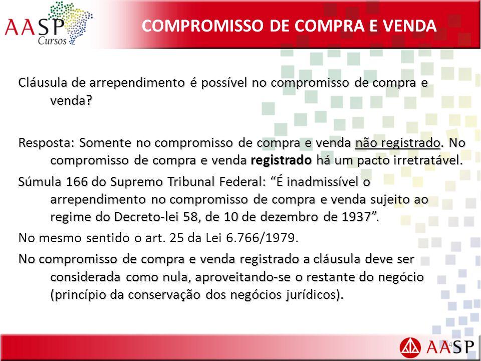 COMPROMISSO DE COMPRA E VENDA Cláusula de arrependimento é possível no compromisso de compra e venda.