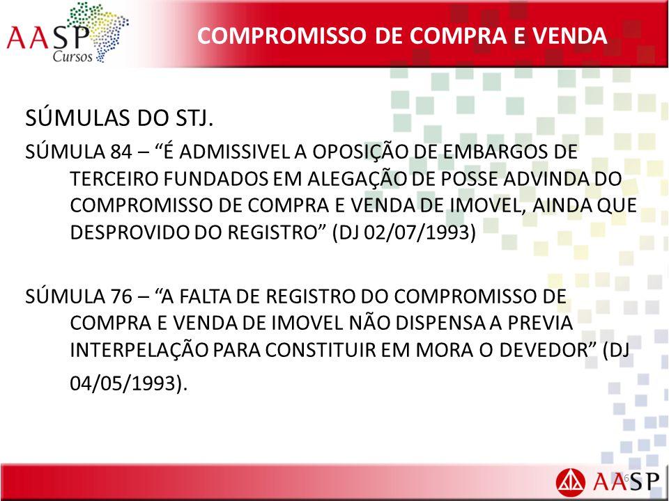 COMPROMISSO DE COMPRA E VENDA SÚMULAS DO STJ.