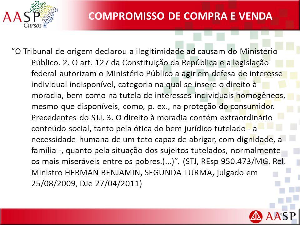 COMPROMISSO DE COMPRA E VENDA O Tribunal de origem declarou a ilegitimidade ad causam do Ministério Público.