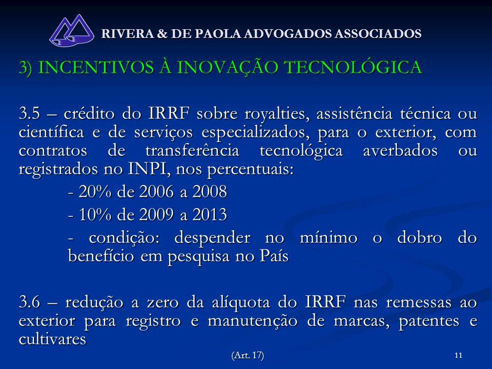 11 RIVERA & DE PAOLA ADVOGADOS ASSOCIADOS 3) INCENTIVOS À INOVAÇÃO TECNOLÓGICA 3.5 – crédito do IRRF sobre royalties, assistência técnica ou científic