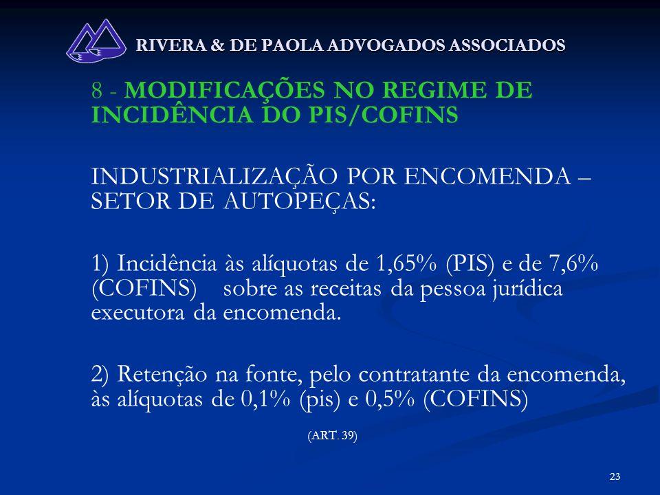 23 RIVERA & DE PAOLA ADVOGADOS ASSOCIADOS 8 - MODIFICAÇÕES NO REGIME DE INCIDÊNCIA DO PIS/COFINS INDUSTRIALIZAÇÃO POR ENCOMENDA – SETOR DE AUTOPEÇAS: