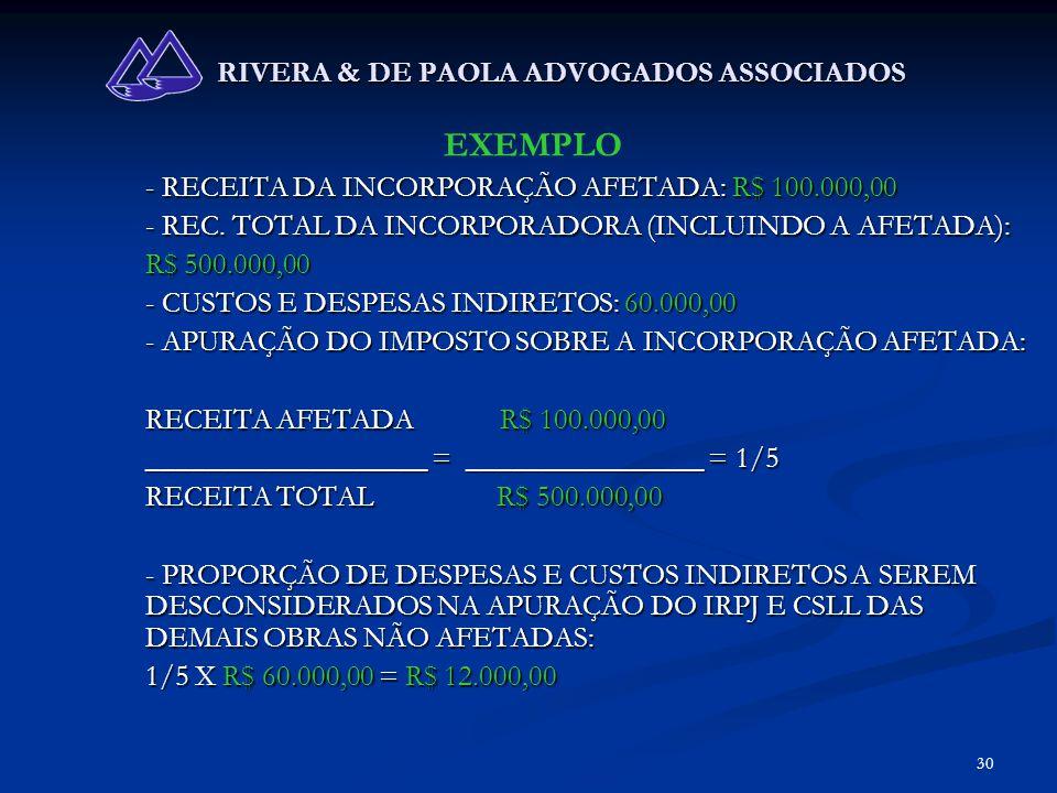 30 RIVERA & DE PAOLA ADVOGADOS ASSOCIADOS EXEMPLO - RECEITA DA INCORPORAÇÃO AFETADA: R$ 100.000,00 - REC. TOTAL DA INCORPORADORA (INCLUINDO A AFETADA)