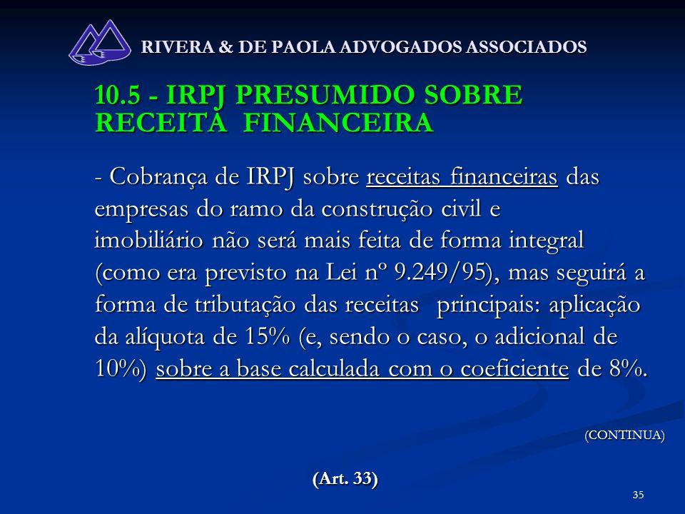 35 RIVERA & DE PAOLA ADVOGADOS ASSOCIADOS 10.5 - IRPJ PRESUMIDO SOBRE RECEITA FINANCEIRA - Cobrança de IRPJ sobre receitas financeiras das empresas do