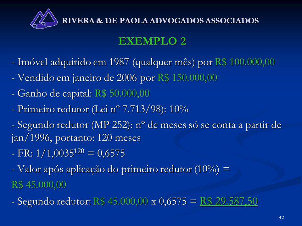 42 RIVERA & DE PAOLA ADVOGADOS ASSOCIADOS EXEMPLO 2 - Imóvel adquirido em 1987 (qualquer mês) por R$ 100.000,00 - Vendido em janeiro de 2006 por R$ 15