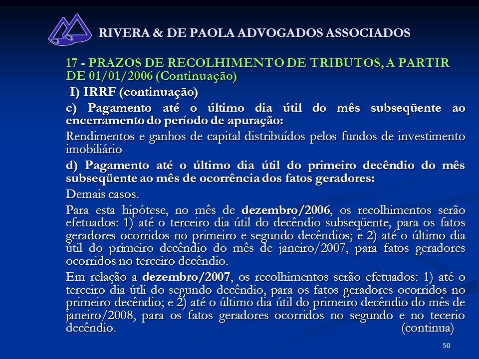 50 RIVERA & DE PAOLA ADVOGADOS ASSOCIADOS 17 - PRAZOS DE RECOLHIMENTO DE TRIBUTOS, A PARTIR DE 01/01/2006 (Continuação) -I) IRRF (continuação) c) Paga