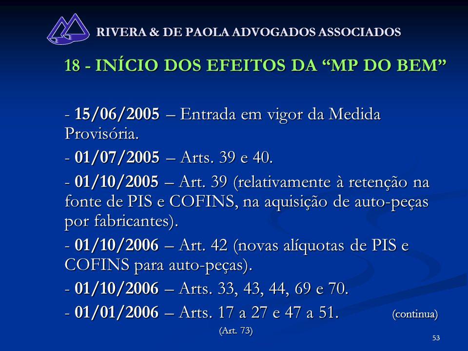 53 RIVERA & DE PAOLA ADVOGADOS ASSOCIADOS 18 - INÍCIO DOS EFEITOS DA MP DO BEM - 15/06/2005 – Entrada em vigor da Medida Provisória. - 01/07/2005 – Ar