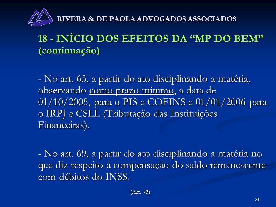 54 RIVERA & DE PAOLA ADVOGADOS ASSOCIADOS 18 - INÍCIO DOS EFEITOS DA MP DO BEM (continuação) - No art. 65, a partir do ato disciplinando a matéria, ob