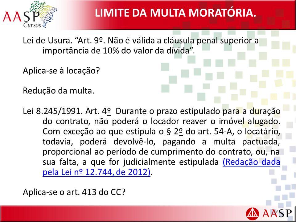 LIMITE DA MULTA MORATÓRIA.Lei de Usura. Art. 9º.