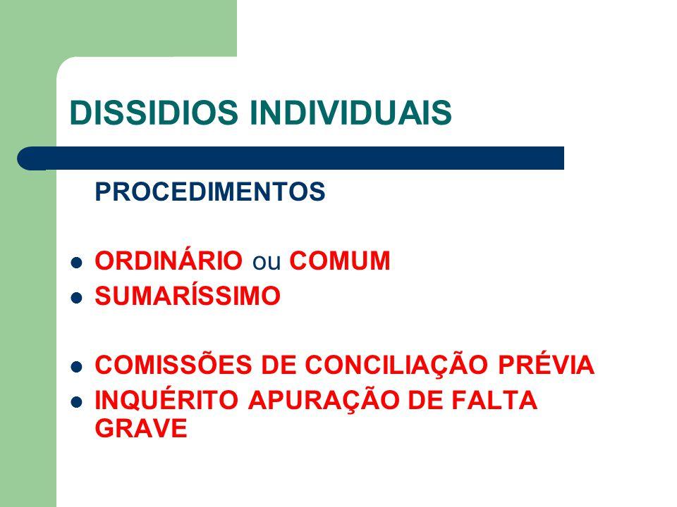 DISSIDIOS INDIVIDUAIS PROCEDIMENTOS ORDINÁRIO ou COMUM SUMARÍSSIMO COMISSÕES DE CONCILIAÇÃO PRÉVIA INQUÉRITO APURAÇÃO DE FALTA GRAVE