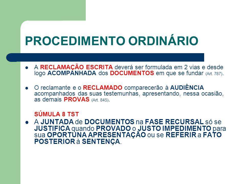 PROCEDIMENTO ORDINÁRIO A RECLAMAÇÃO ESCRITA deverá ser formulada em 2 vias e desde logo ACOMPANHADA dos DOCUMENTOS em que se fundar (Art.