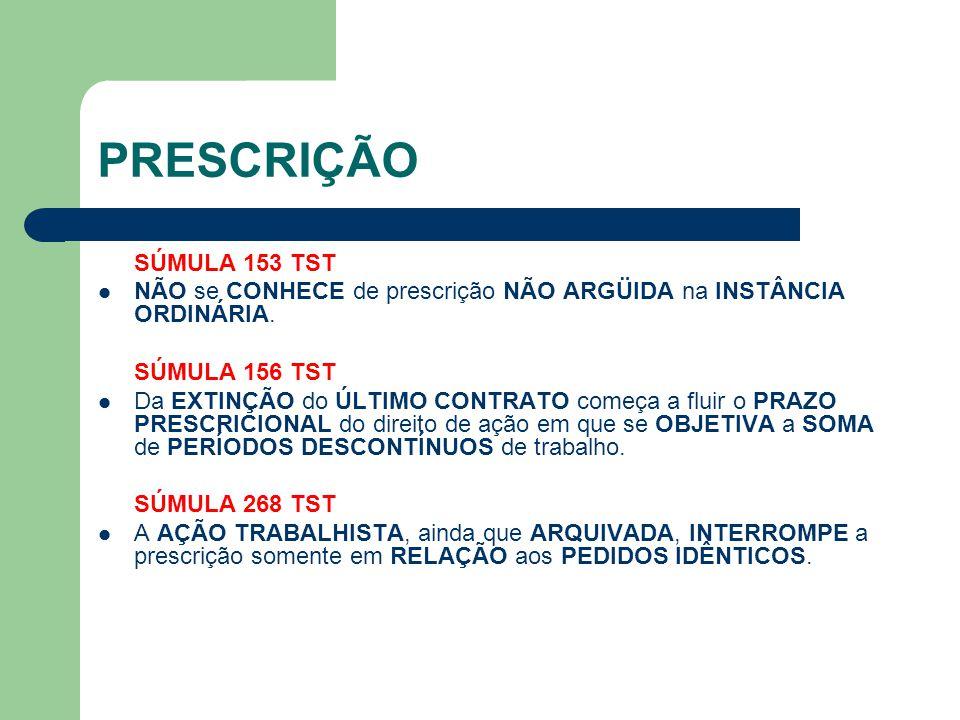 PRESCRIÇÃO SÚMULA 275 TST I - Na AÇÃO que objetive CORRIGIR DESVIO FUNCIONAL, a prescrição SÓ ALCANÇA as DIFERENÇAS SALARIAIS VENCIDAS no período de 5 ANOS que precedeu o ajuizamento.
