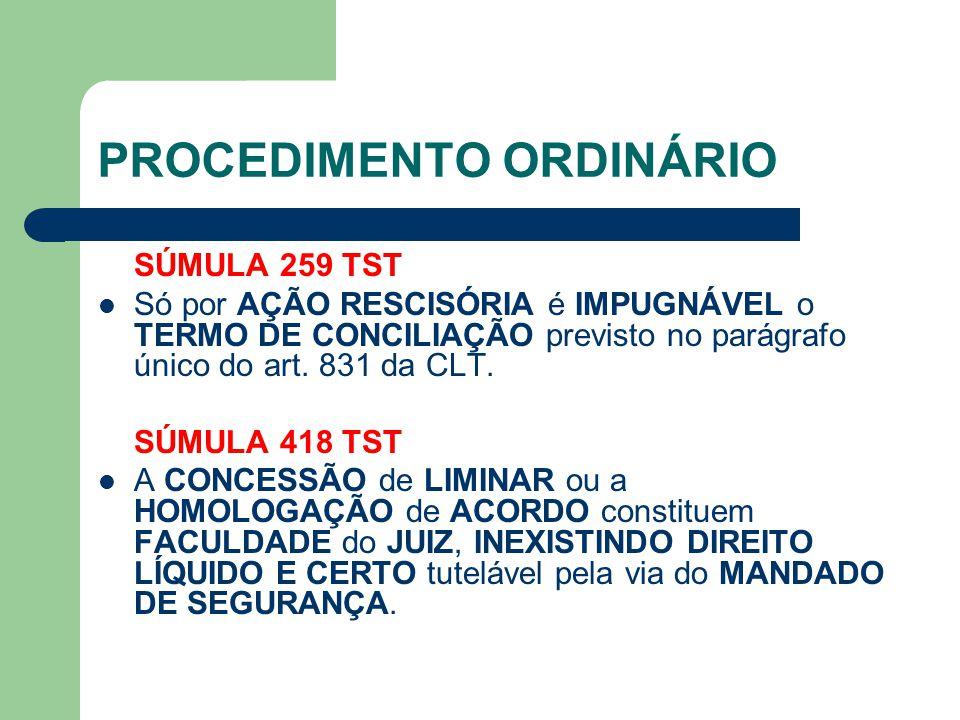 PROCEDIMENTO ORDINÁRIO SÚMULA 259 TST Só por AÇÃO RESCISÓRIA é IMPUGNÁVEL o TERMO DE CONCILIAÇÃO previsto no parágrafo único do art.