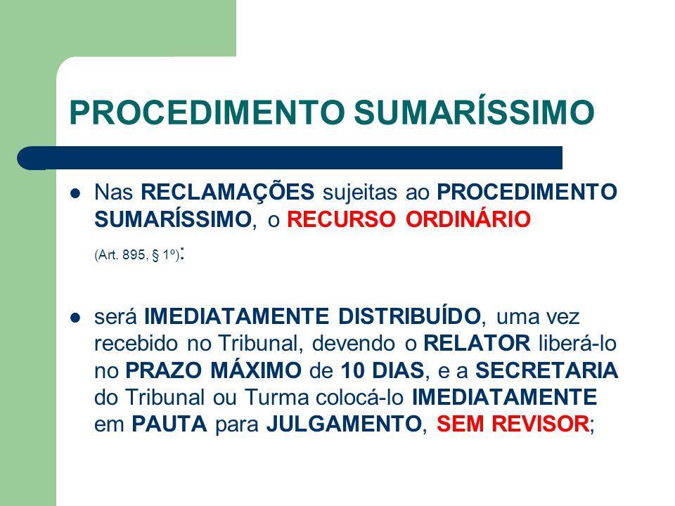 PROCEDIMENTO SUMARÍSSIMO Nas RECLAMAÇÕES sujeitas ao PROCEDIMENTO SUMARÍSSIMO, o RECURSO ORDINÁRIO (Art.