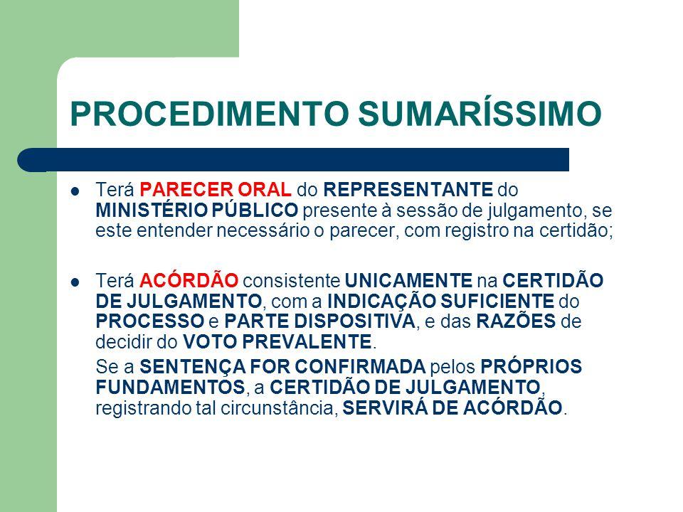 PROCEDIMENTO SUMARÍSSIMO Terá PARECER ORAL do REPRESENTANTE do MINISTÉRIO PÚBLICO presente à sessão de julgamento, se este entender necessário o parecer, com registro na certidão; Terá ACÓRDÃO consistente UNICAMENTE na CERTIDÃO DE JULGAMENTO, com a INDICAÇÃO SUFICIENTE do PROCESSO e PARTE DISPOSITIVA, e das RAZÕES de decidir do VOTO PREVALENTE.