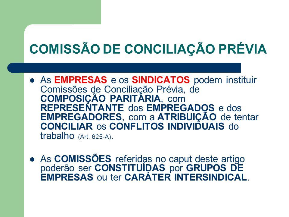 COMISSÃO DE CONCILIAÇÃO PRÉVIA As EMPRESAS e os SINDICATOS podem instituir Comissões de Conciliação Prévia, de COMPOSIÇÃO PARITÁRIA, com REPRESENTANTE dos EMPREGADOS e dos EMPREGADORES, com a ATRIBUIÇÃO de tentar CONCILIAR os CONFLITOS INDIVIDUAIS do trabalho (Art.