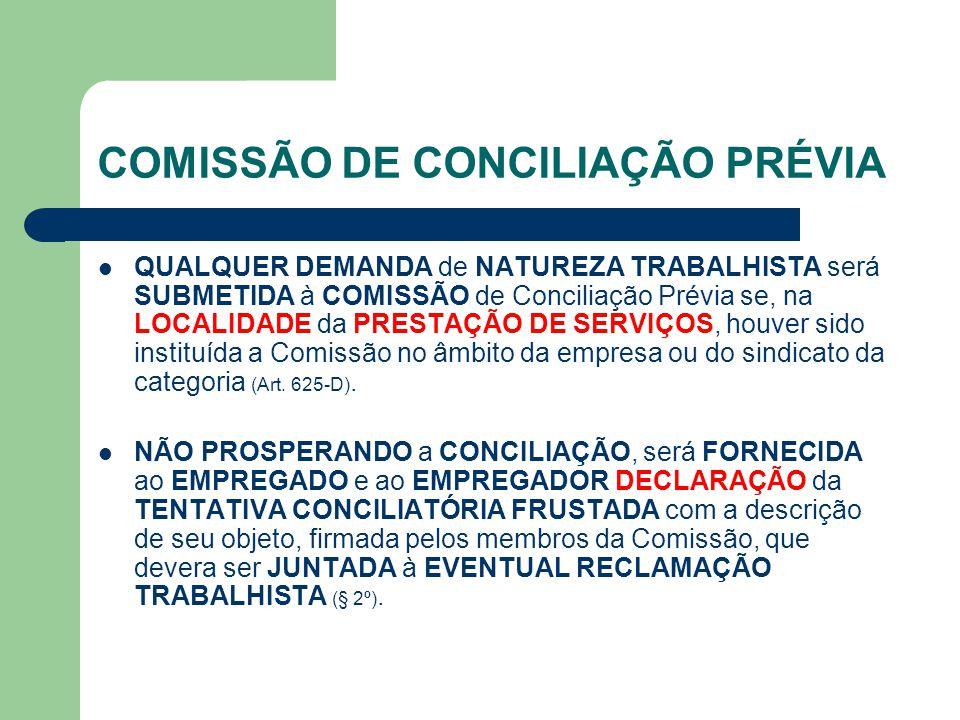 COMISSÃO DE CONCILIAÇÃO PRÉVIA QUALQUER DEMANDA de NATUREZA TRABALHISTA será SUBMETIDA à COMISSÃO de Conciliação Prévia se, na LOCALIDADE da PRESTAÇÃO DE SERVIÇOS, houver sido instituída a Comissão no âmbito da empresa ou do sindicato da categoria (Art.