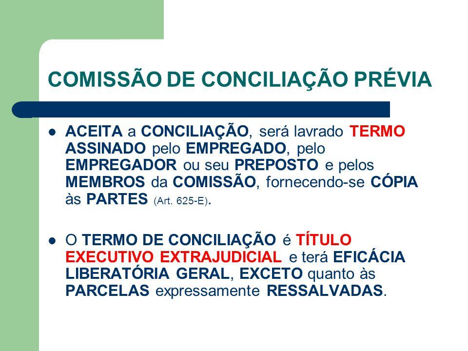 COMISSÃO DE CONCILIAÇÃO PRÉVIA ACEITA a CONCILIAÇÃO, será lavrado TERMO ASSINADO pelo EMPREGADO, pelo EMPREGADOR ou seu PREPOSTO e pelos MEMBROS da COMISSÃO, fornecendo-se CÓPIA às PARTES (Art.