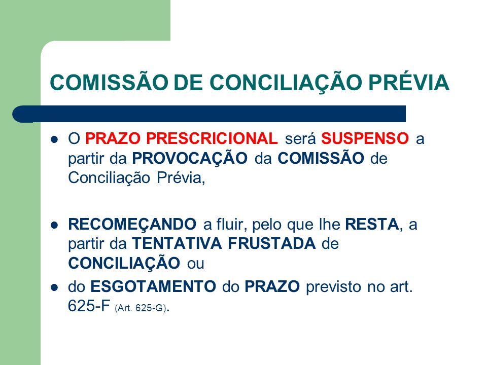 COMISSÃO DE CONCILIAÇÃO PRÉVIA O PRAZO PRESCRICIONAL será SUSPENSO a partir da PROVOCAÇÃO da COMISSÃO de Conciliação Prévia, RECOMEÇANDO a fluir, pelo que lhe RESTA, a partir da TENTATIVA FRUSTADA de CONCILIAÇÃO ou do ESGOTAMENTO do PRAZO previsto no art.