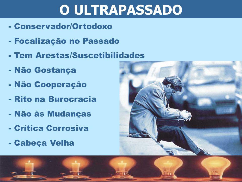 O ULTRAPASSADO - Conservador/Ortodoxo - Focalização no Passado - Tem Arestas/Suscetibilidades - Não Gostança - Não Cooperação - Rito na Burocracia - Não às Mudanças - Crítica Corrosiva - Cabeça Velha
