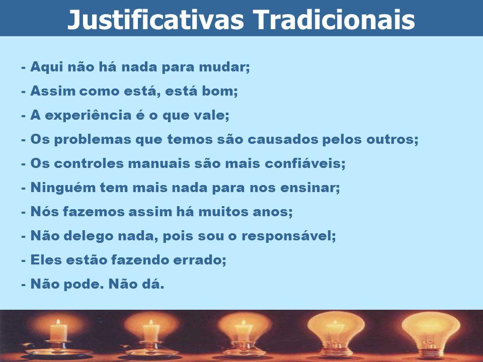 Justificativas Tradicionais - Aqui não há nada para mudar; - Assim como está, está bom; - A experiência é o que vale; - Os problemas que temos são cau