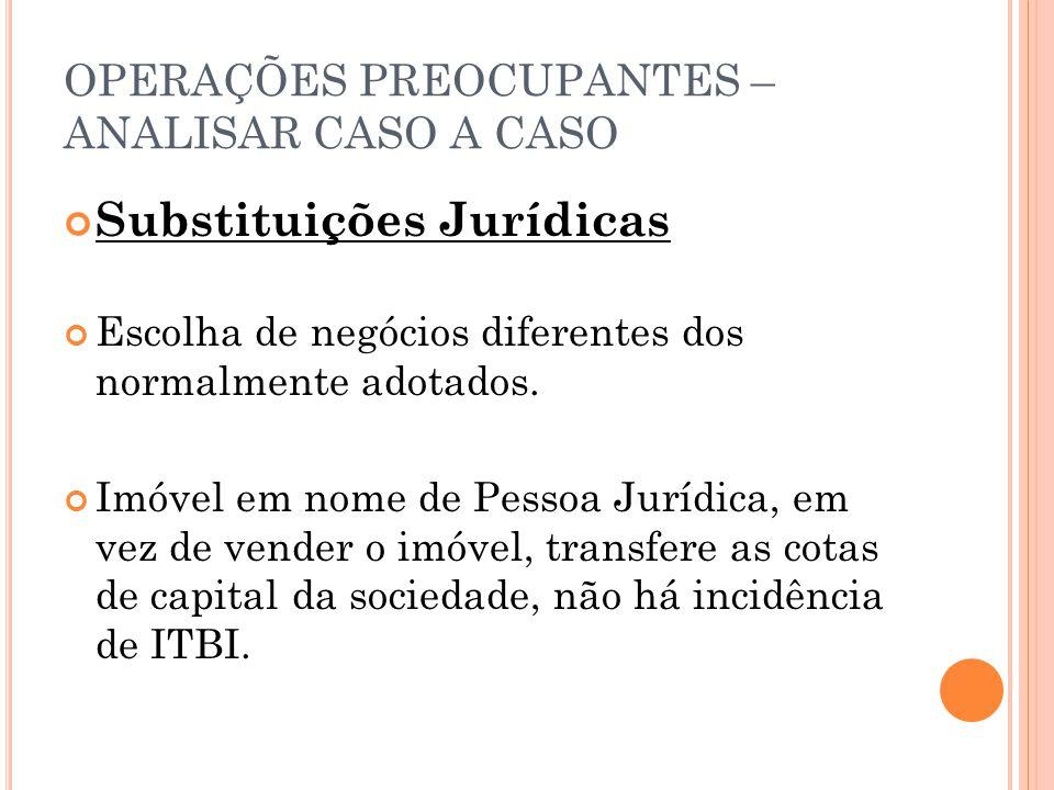 OPERAÇÕES PREOCUPANTES – ANALISAR CASO A CASO Substituições Jurídicas Escolha de negócios diferentes dos normalmente adotados. Imóvel em nome de Pesso