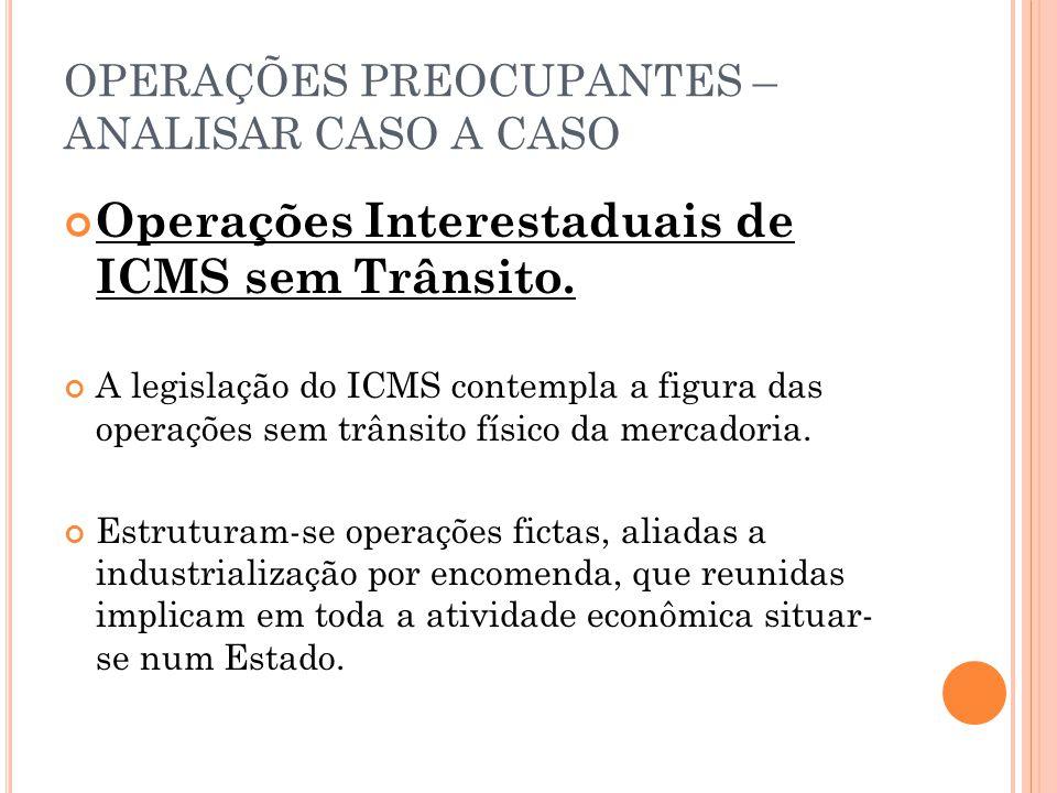 OPERAÇÕES PREOCUPANTES – ANALISAR CASO A CASO Operações Interestaduais de ICMS sem Trânsito. A legislação do ICMS contempla a figura das operações sem