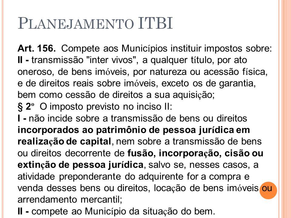 P LANEJAMENTO ITBI Art. 156. Compete aos Munic í pios instituir impostos sobre: II - transmissão