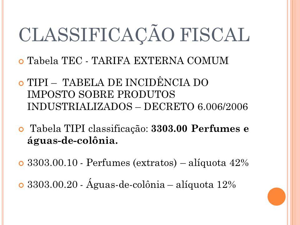 CLASSIFICAÇÃO FISCAL Tabela TEC - TARIFA EXTERNA COMUM TIPI – TABELA DE INCIDÊNCIA DO IMPOSTO SOBRE PRODUTOS INDUSTRIALIZADOS – DECRETO 6.006/2006 Tab