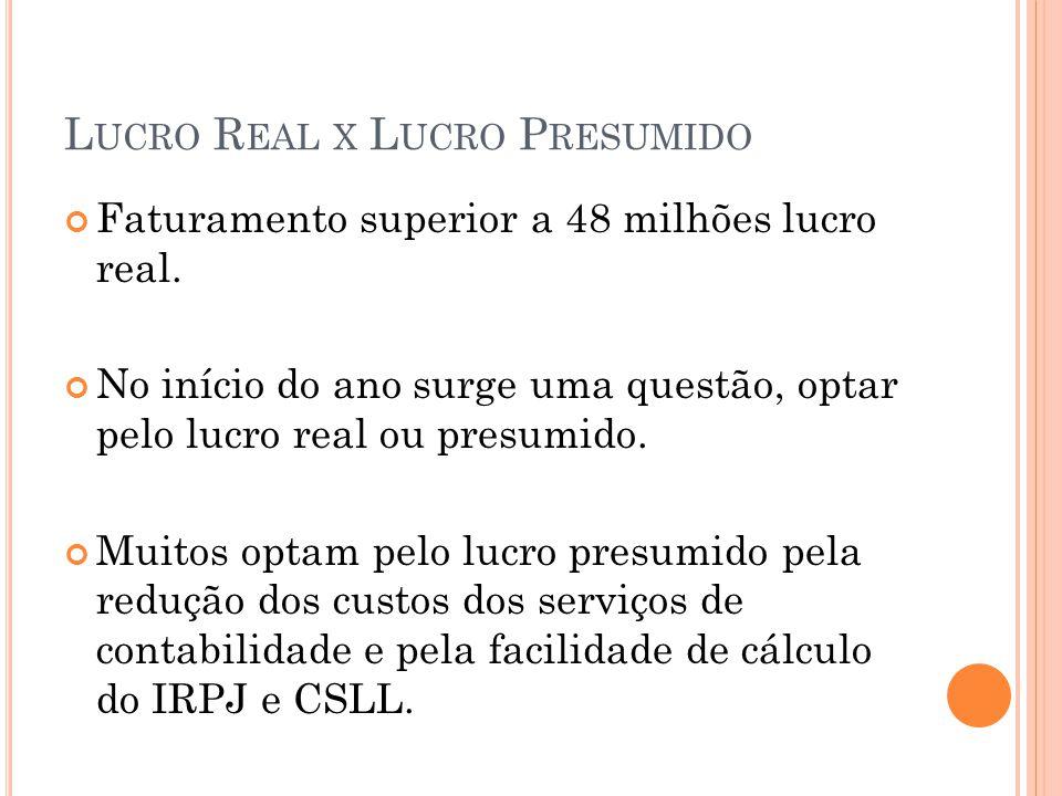 L UCRO R EAL X L UCRO P RESUMIDO A decisão deve-se basear na margem de lucro da empresa antes do IRPJ e CSLL, obtida nas demonstrações contábeis e projetadas até o final do ano.