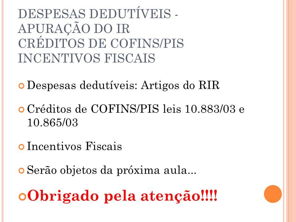 DESPESAS DEDUTÍVEIS - APURAÇÃO DO IR CRÉDITOS DE COFINS/PIS INCENTIVOS FISCAIS Despesas dedutíveis: Artigos do RIR Créditos de COFINS/PIS leis 10.883/