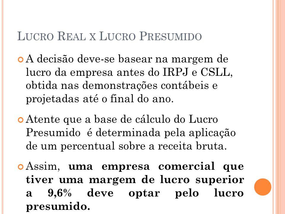 L UCRO R EAL X L UCRO P RESUMIDO A decisão deve-se basear na margem de lucro da empresa antes do IRPJ e CSLL, obtida nas demonstrações contábeis e pro