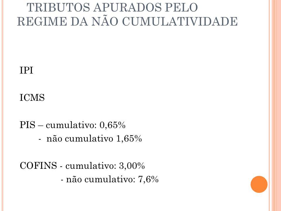 TRIBUTOS APURADOS PELO REGIME DA NÃO CUMULATIVIDADE IPI ICMS PIS – cumulativo: 0,65% - não cumulativo 1,65% COFINS - cumulativo: 3,00% - não cumulativ