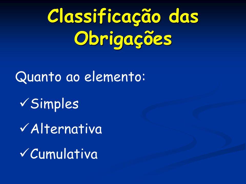Classificação das Obrigações Quanto ao elemento: Simples Cumulativa Alternativa