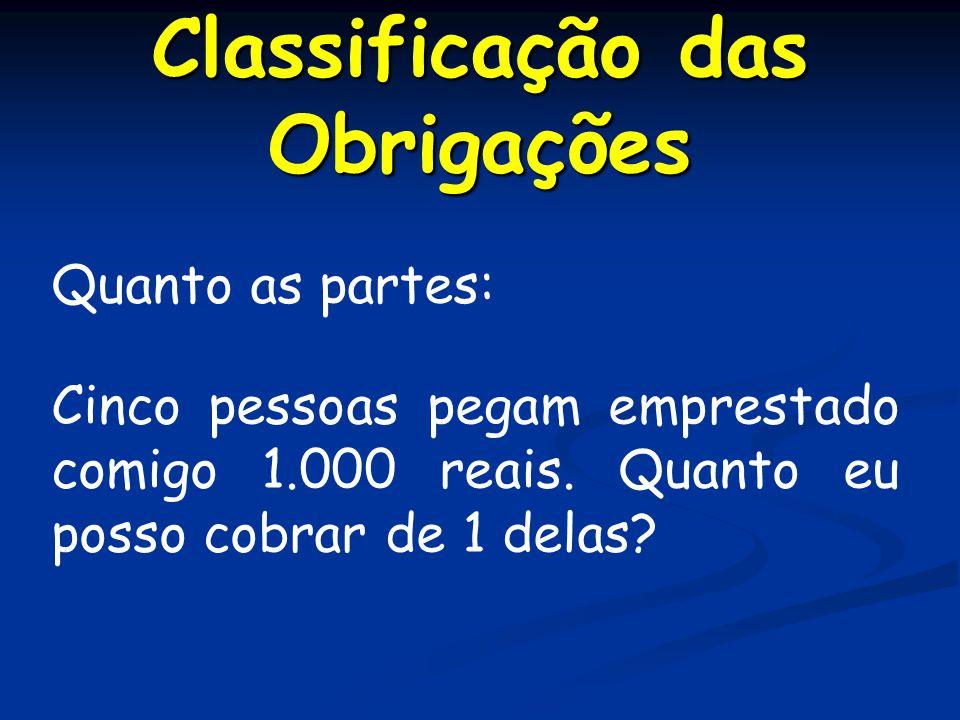 Classificação das Obrigações Quanto as partes: Cinco pessoas pegam emprestado comigo 1.000 reais.