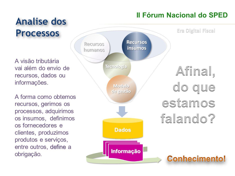 define A visão tributária vai além do envio de recursos, dados ou informações. A forma como obtemos recursos, gerimos os processos, adquirimos os insu