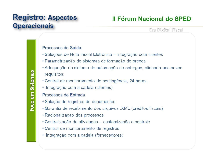 Aspectos Operacionais Registro: Aspectos Operacionais Processos de Saída: Soluções de Nota Fiscal Eletrônica – integração com clientes Parametrização