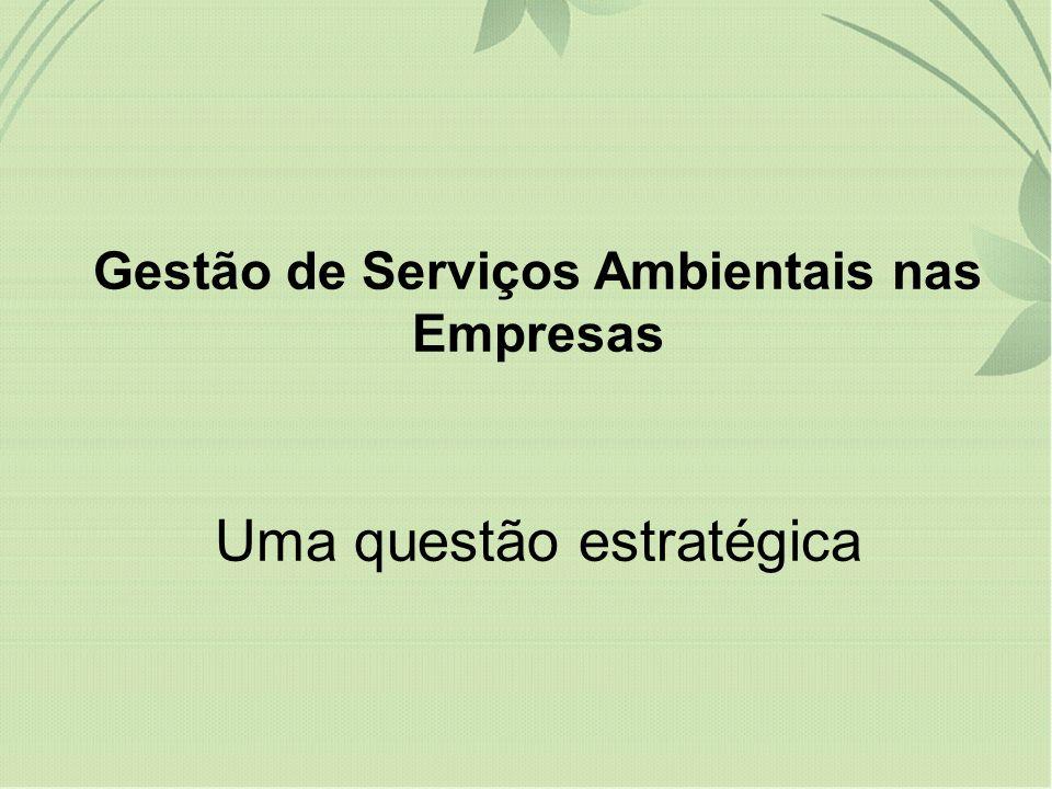 Gestão de Serviços Ambientais nas Empresas Uma questão estratégica