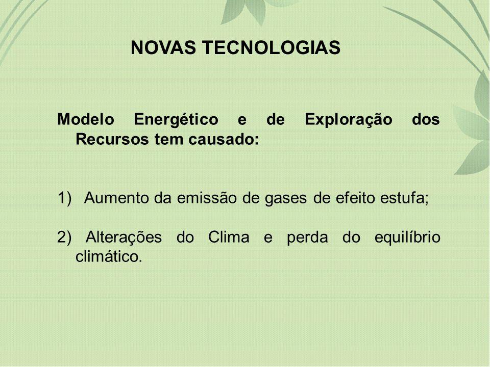 NOVAS TECNOLOGIAS Modelo Energético e de Exploração dos Recursos tem causado: 1) Aumento da emissão de gases de efeito estufa; 2) Alterações do Clima