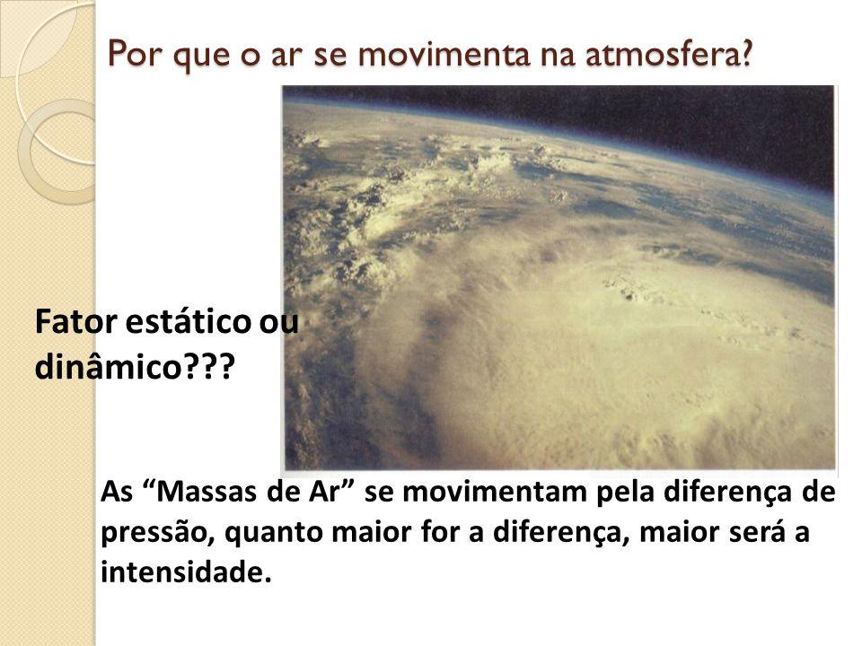 Por que o ar se movimenta na atmosfera? As Massas de Ar se movimentam pela diferença de pressão, quanto maior for a diferença, maior será a intensidad