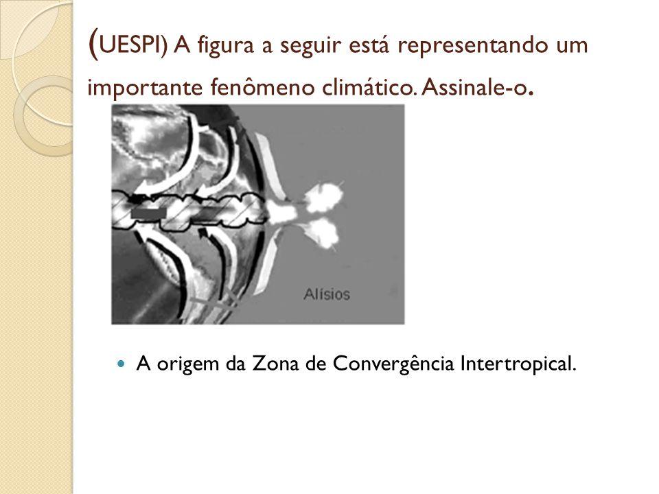 ( UESPI) A figura a seguir está representando um importante fenômeno climático. Assinale-o. A origem da Zona de Convergência Intertropical.