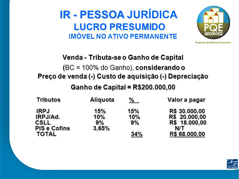 16 IR - PESSOA LUCRO PRESUMIDO IR - PESSOA JURÍDICA LUCRO PRESUMIDO IMÓVEL NO ATIVO PERMANENTE Venda - Tributa-se o Ganho de Capital (BC = 100% do Gan