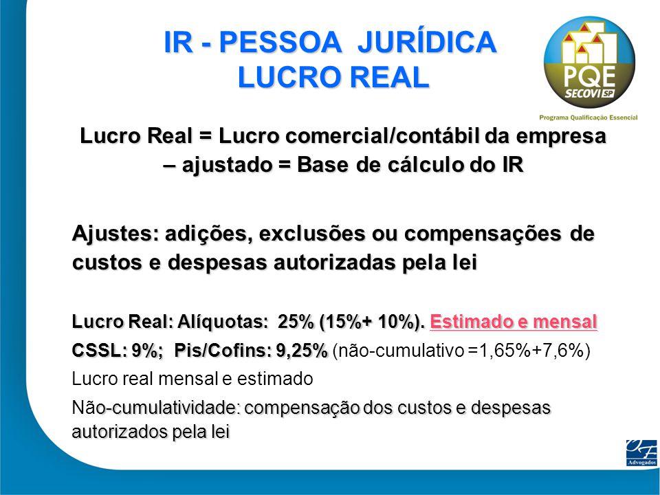 21 IR - PESSOA JURÍDICA LUCRO REAL IR - PESSOA JURÍDICA LUCRO REAL Lucro Real = Lucro comercial/contábil da empresa – ajustado = Base de cálculo do IR