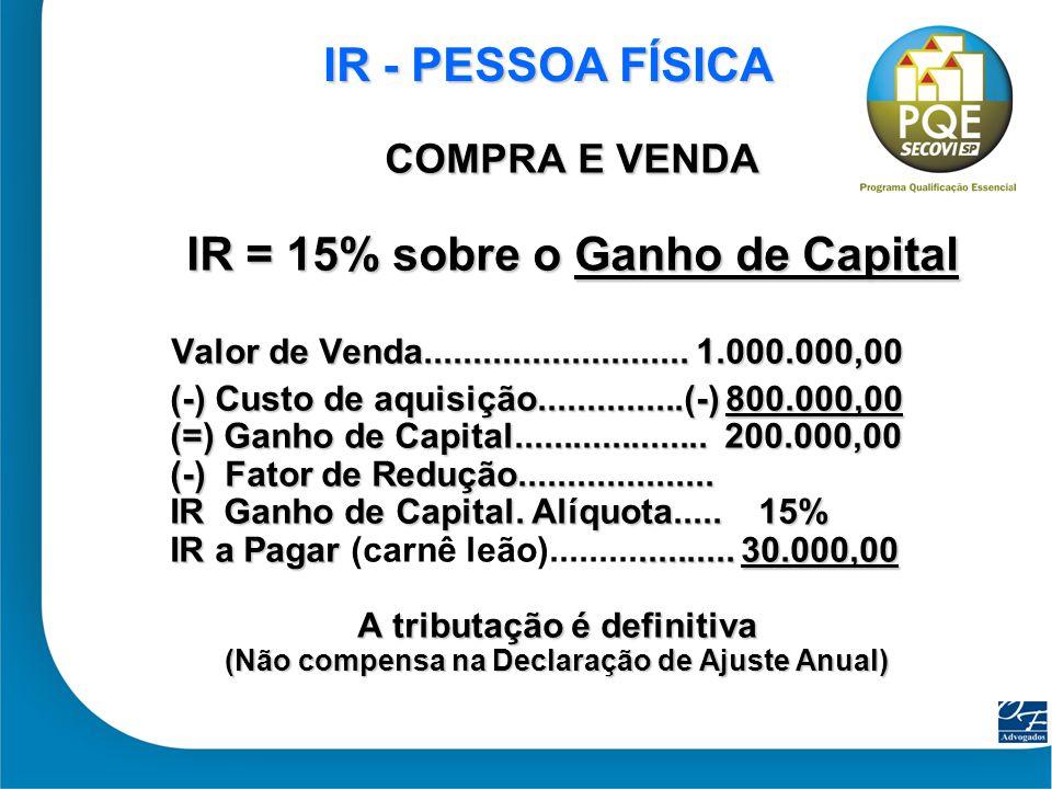 14 IR - PESSOA IR - PESSOA JURÍDICA LUCRO PRESUMIDO Ativo Circulante - Compra e Venda Valor R$ 1.000.000,00 Base de cálculo = Lucro presumido (8% da Receita = R$ 80.000,00) Tributos Alíquota % Imposto IRPJ 15,00% 1,2% 12.000,00 IRPJ/ Ad (1) 10,00% 0,8% 8.000,00 CSLL (2) 9,00% 1,08% 10.800,00 PIS/ Cofins 3,65% 3,65% 36.500,00 TOTAL 6,73% R$67.300,00 ( 1) IRPJ/Adicional: BC Superior a R$240 mil/ano (não considerado no exemplo) (2) BC =12% s/ Receita L.