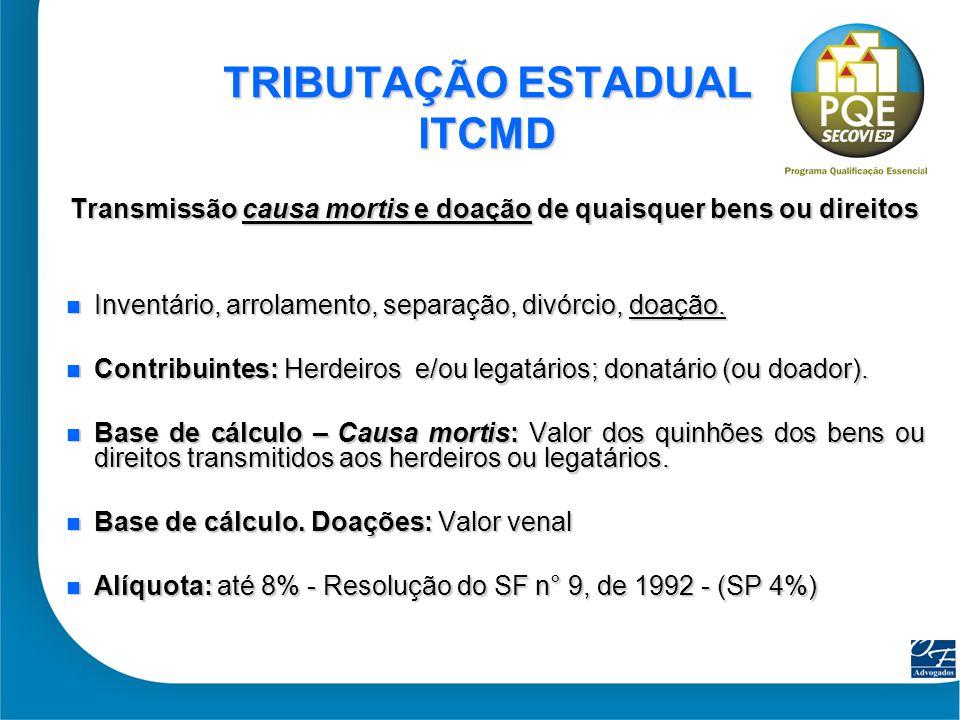 32 TRIBUTAÇÃO ESTADUAL ITCMD Transmissão causa mortis e doação de quaisquer bens ou direitos Inventário, arrolamento, separação, divórcio, doação. Inv