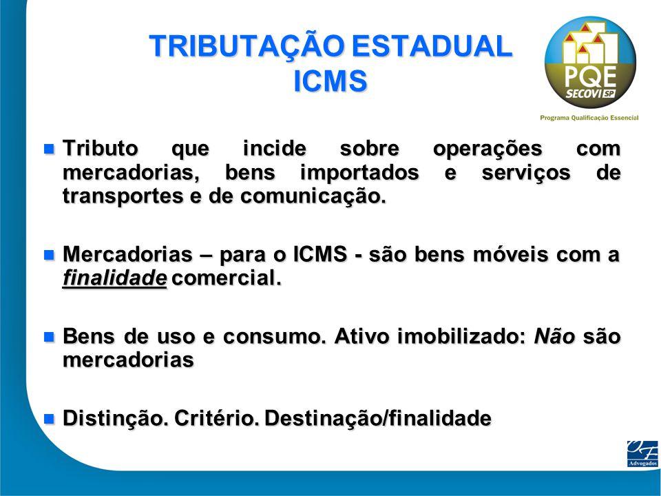 33 TRIBUTAÇÃO ESTADUAL ICMS Tributo que incide sobre operações com mercadorias, bens importados e serviços de transportes e de comunicação. Tributo qu