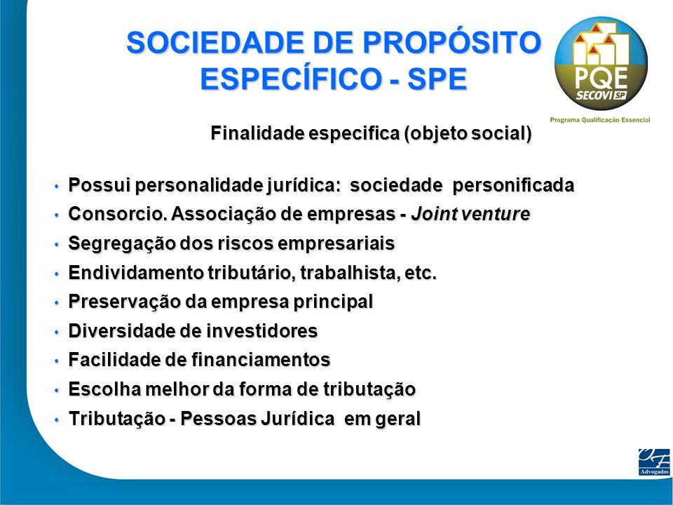 39 SOCIEDADE DE PROPÓSITO ESPECÍFICO - SPE Finalidade especifica (objeto social) Possui personalidade jurídica: sociedade personificada Possui persona