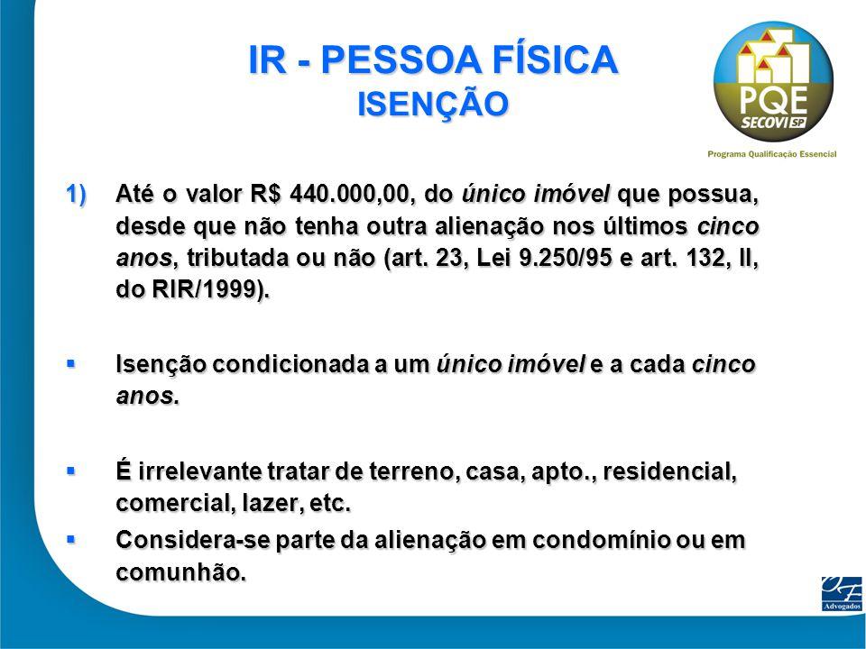 5 IR - PESSOA FÍSICA ISENÇÃO 2) Está isento (a partir de 16.06.2005) o ganho de capital na venda de imóvel residencial, para compra de outro imóvel residencial, no prazo de 180 dias (art.