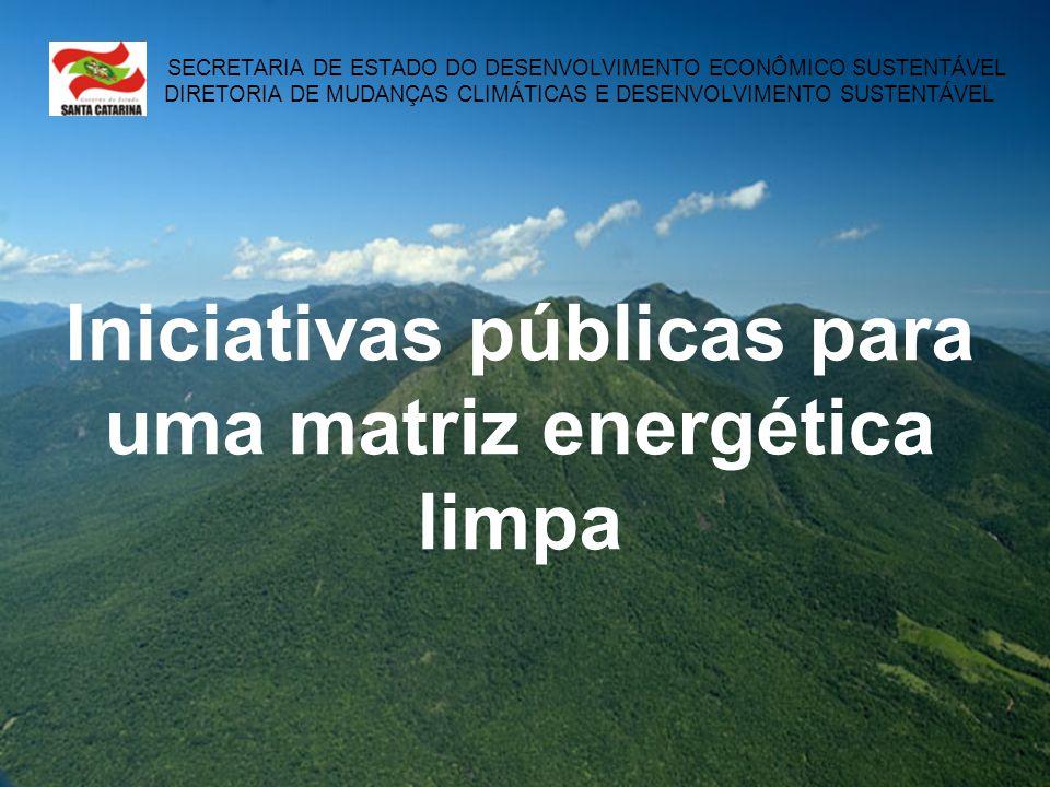 SECRETARIA DE ESTADO DO DESENVOLVIMENTO ECONÔMICO SUSTENTÁVEL DIRETORIA DE MUDANÇAS CLIMÁTICAS E DESENVOLVIMENTO SUSTENTÁVEL Iniciativas públicas para