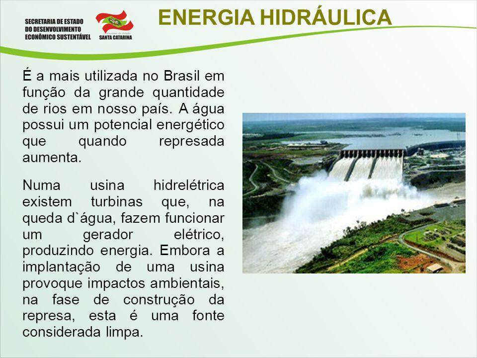 ENERGIA HIDRÁULICA É a mais utilizada no Brasil em função da grande quantidade de rios em nosso país. A água possui um potencial energético que quando