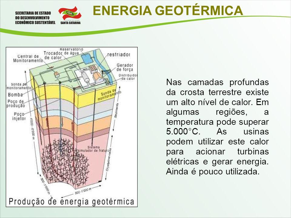 ENERGIA GEOTÉRMICA Nas camadas profundas da crosta terrestre existe um alto nível de calor. Em algumas regiões, a temperatura pode superar 5.000°C. As